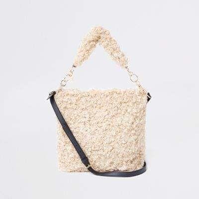 f328911e84 River Island Womens Beige textured borg slouch bag