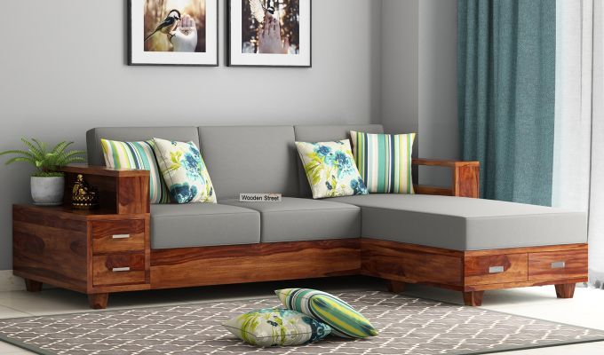 Buy Solace L Shaped Wooden Sofa Walnut Finish Online In India Wooden Street Wooden Sofa Designs Corner Sofa Design Wooden Sofa Set