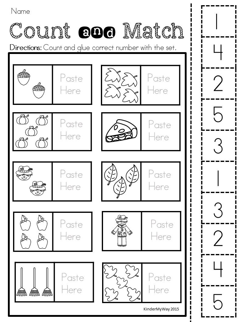 Fall Activities for Preschool Numbers preschool