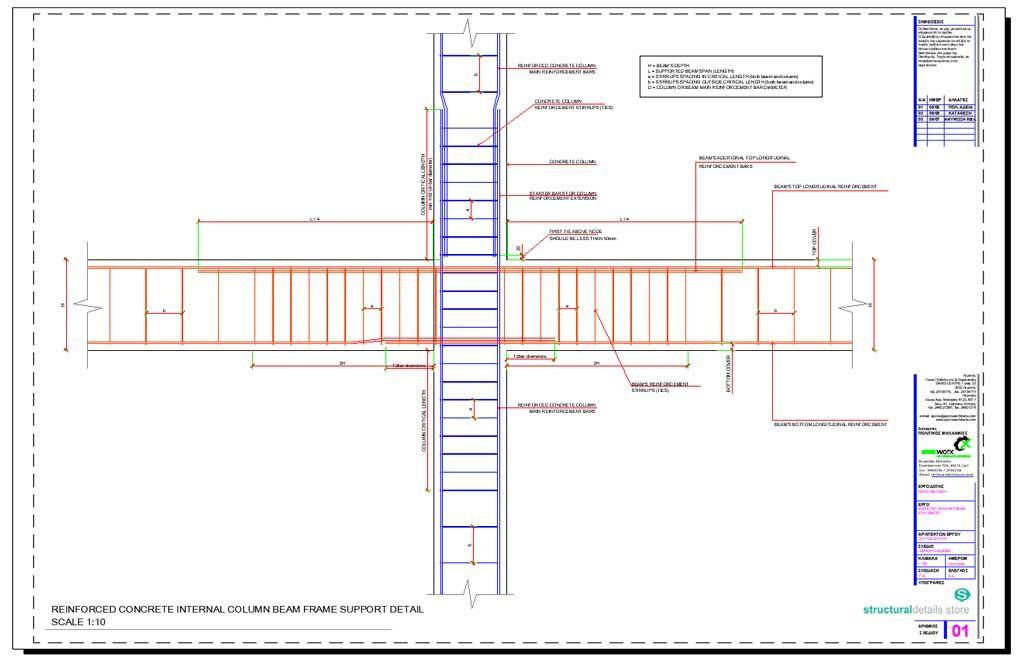 Internal Column Beam Frame Support Detail Reinforced Concrete Concrete Retaining Walls Concrete