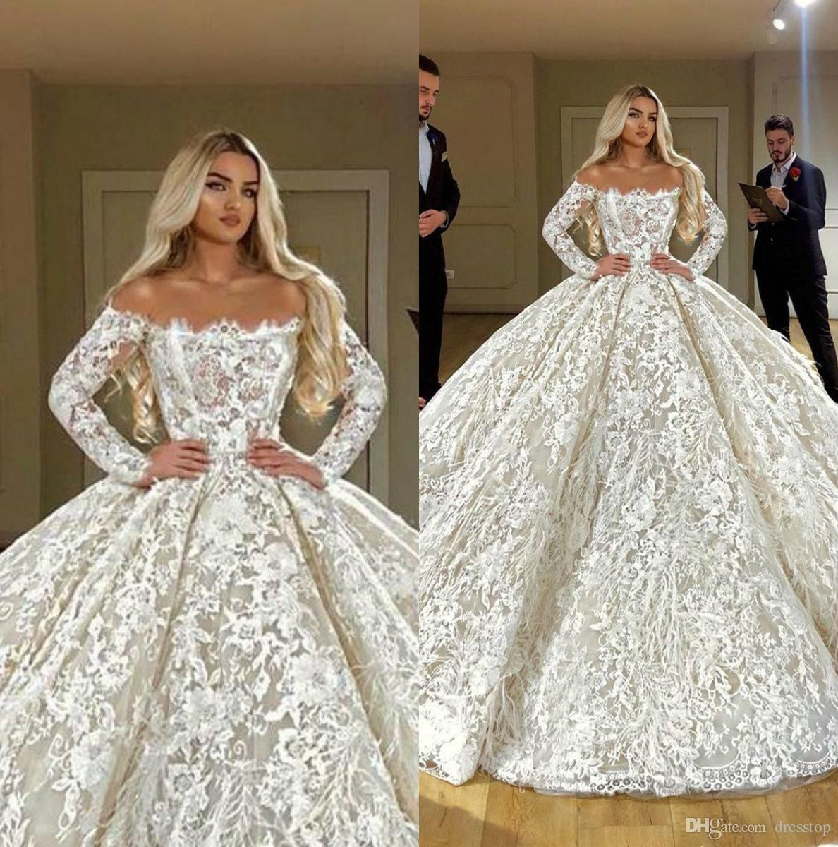 Luxury Lace Ball Gown Wedding Dresses With Feathers Backless Long Sleeve Bridal Gowns Plus Size Dubai Arab Wedding Dress Custom Cheap Wedding Dresses Plus Size Long Sleeve Bridal Gown Chic