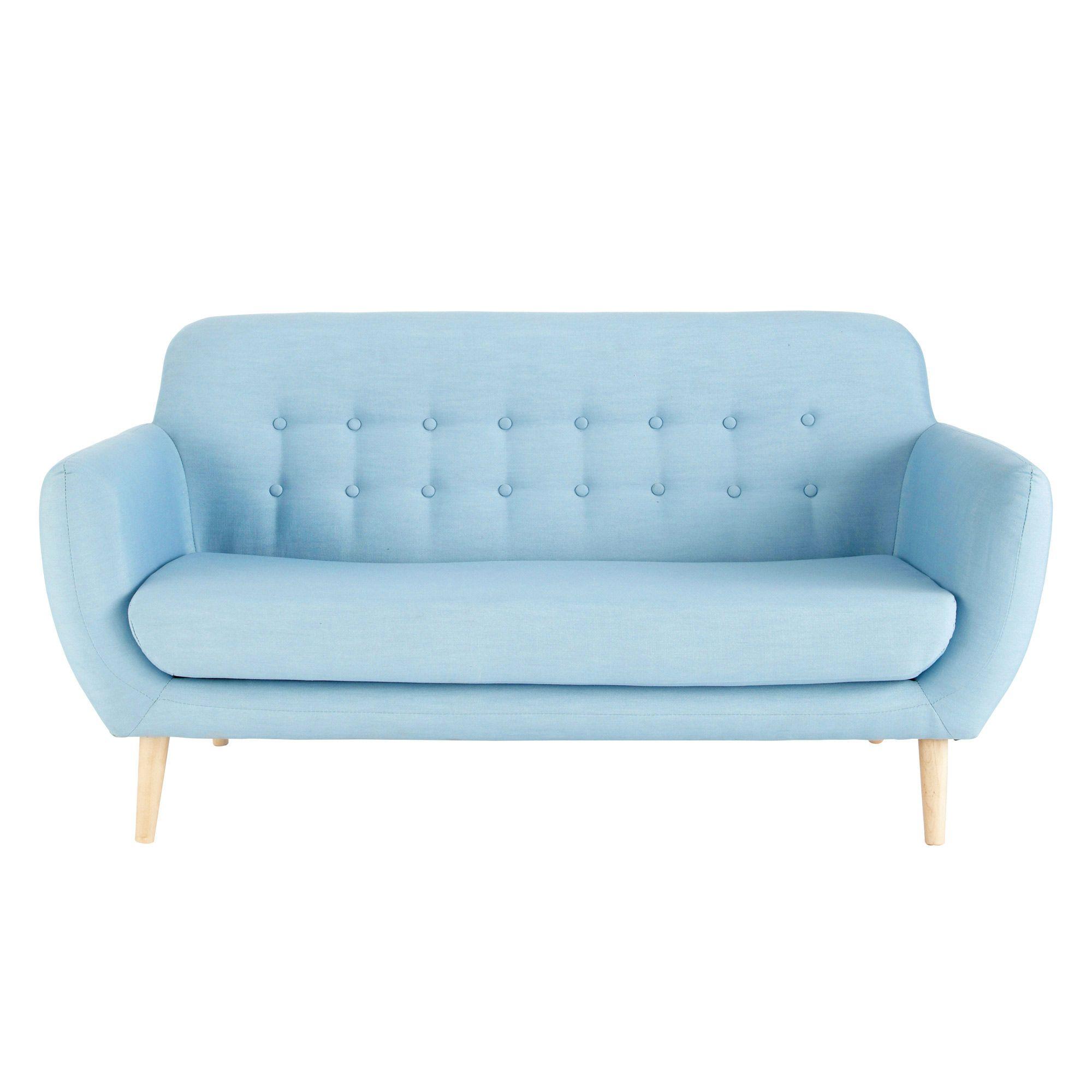 Canapé scandinave 2/3 places en tissu bleu | Living rooms, Comfy ...