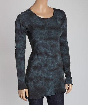 Look at this #zulilyfind! Jayli Black Tie-Dye Scoop Neck Top by Jayli #zulilyfinds