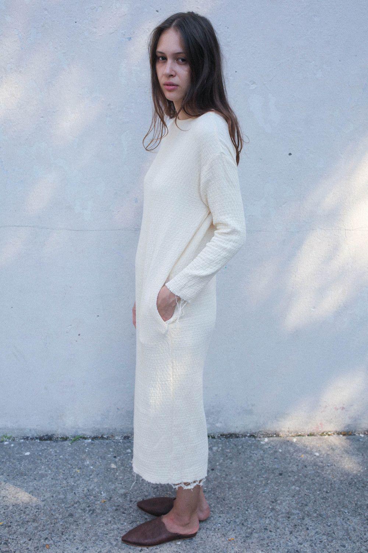 Black Crane Long Quilt Dress in Cream | Oroboro Store