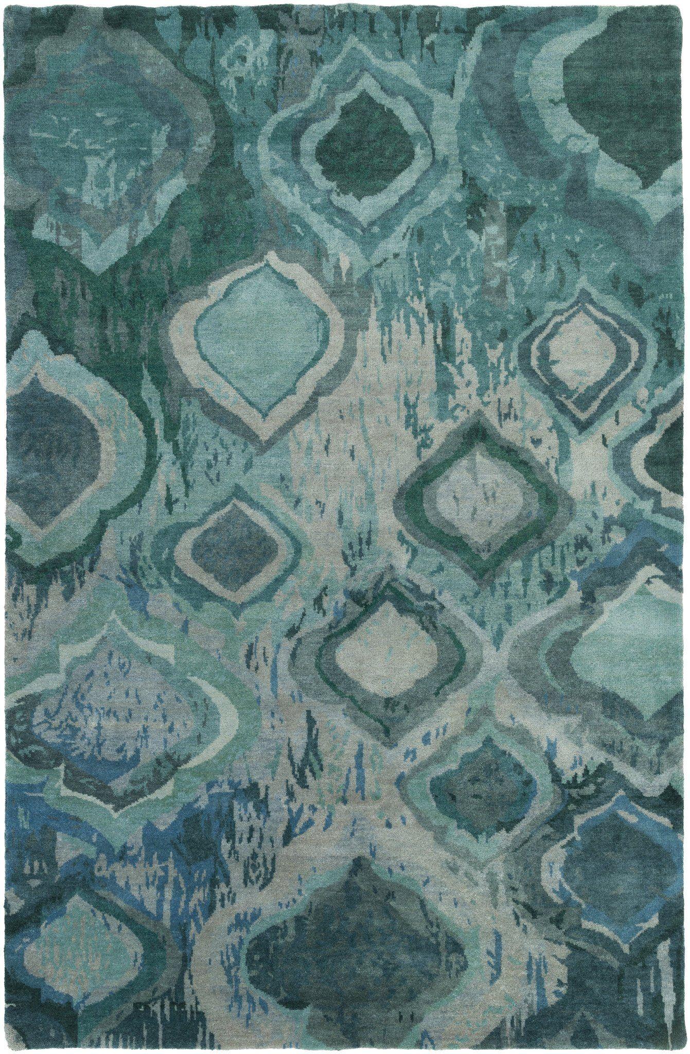 Surya Watercolor Wat5012 Blue Green Modern Area Rug Wool Area