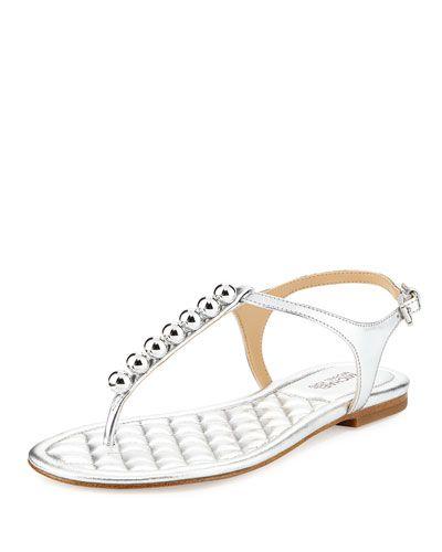 3f1bf85a74d MICHAEL MICHAEL KORS Kirby Metallic Napa Studded Flat Sandal