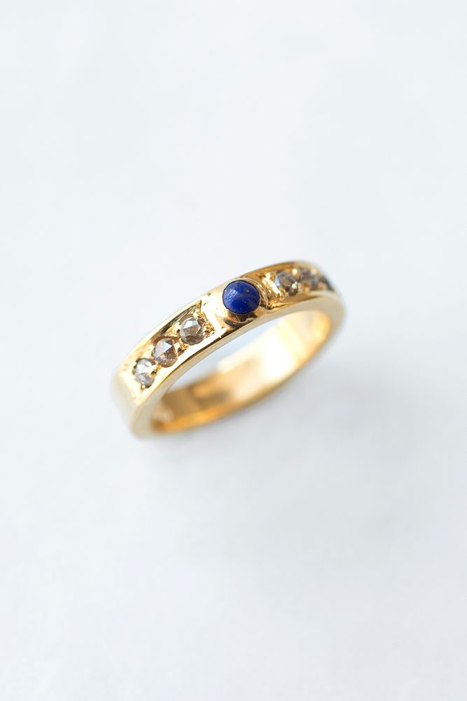 e22f6a34f997 Lapis and Diamond Gold Ring - Chan Luu Anillos De Diamantes De Oro