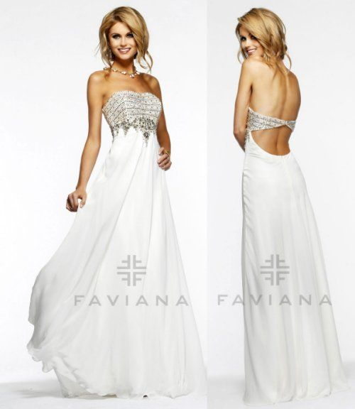 Long white prom dress with embellished bodice and cut off back by ...