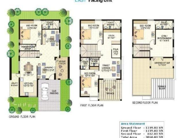 3060 Sq Ft 4 Bhk 4t Villas In Vertex Homes Lake View Kukatpally Hyderabad 6970133428366972457 Jpg 640 480 Bungalow Floor Plans Duplex House Plans House Plans