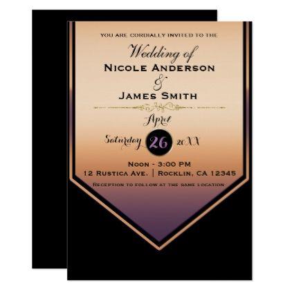 Gorgeous Purple Gold Shine Classy Wedding Card wedding