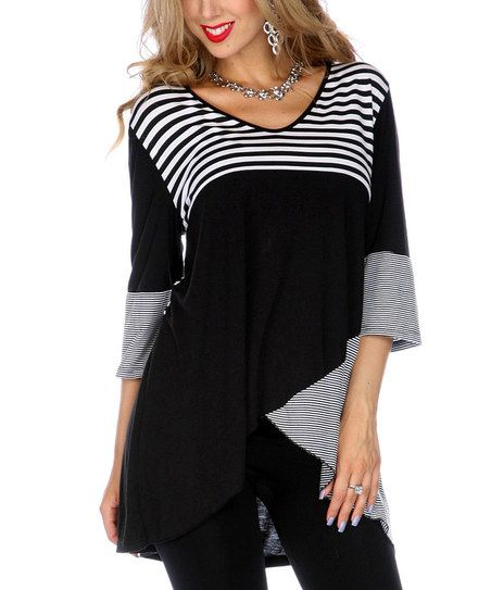 Black Stripe V Neck Hi Low Tunic | Clothes, Print tunic
