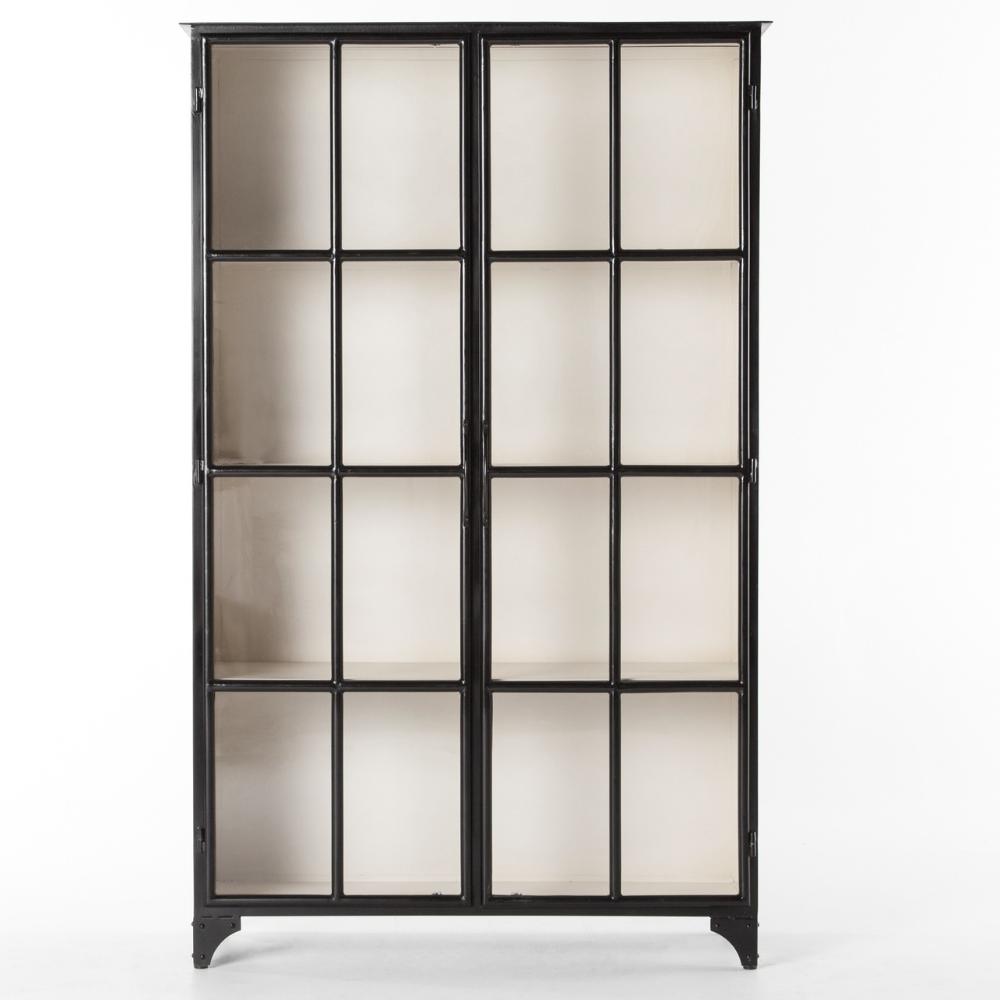 Camila Industrial Black Iron Display Cabinet With Glass Doors Glass Cabinet Doors Glass Door Display Cabinet