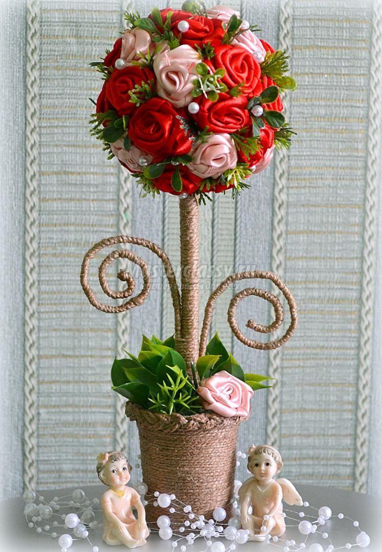 Топиарий с розами из атласных лент. Мастер-класс с ...