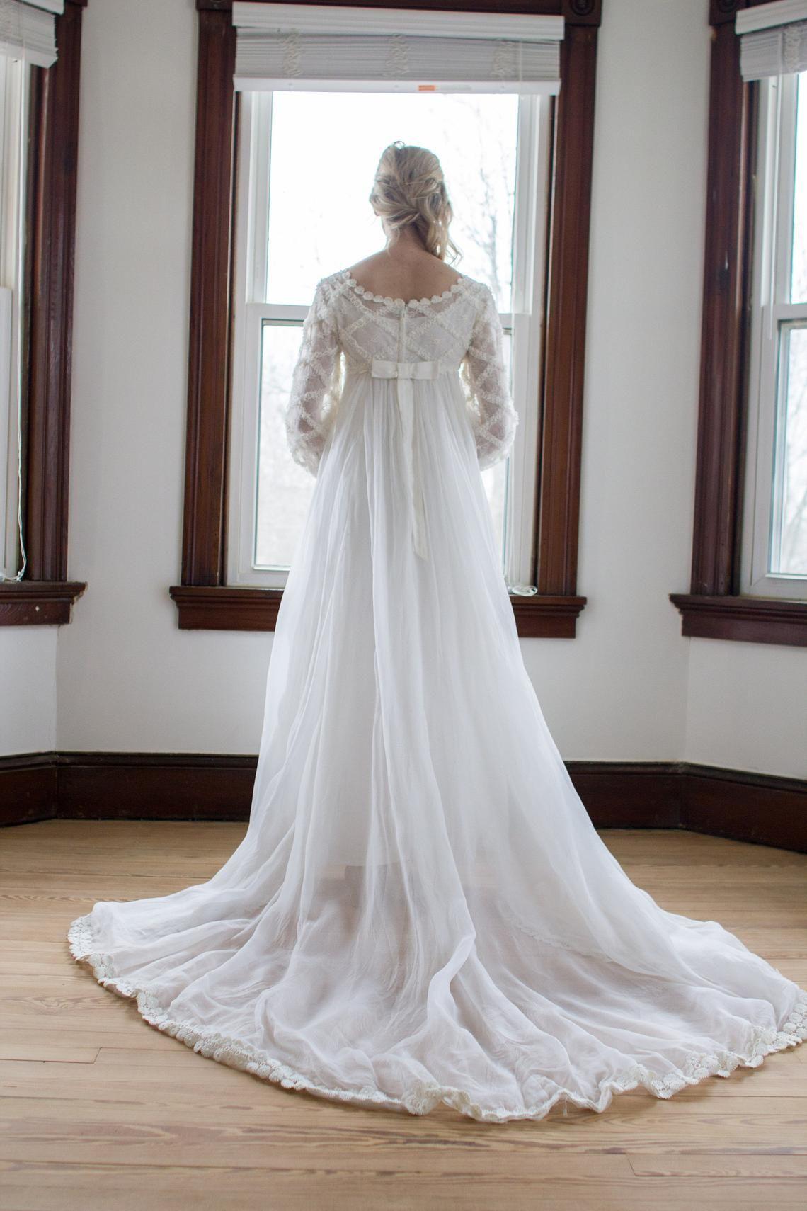 Vintage 1960 S Silk Chiffon Empire Waist Wedding Gown Etsy Wedding Dress Chiffon Chiffon Wedding Gowns Wedding Dresses Xs