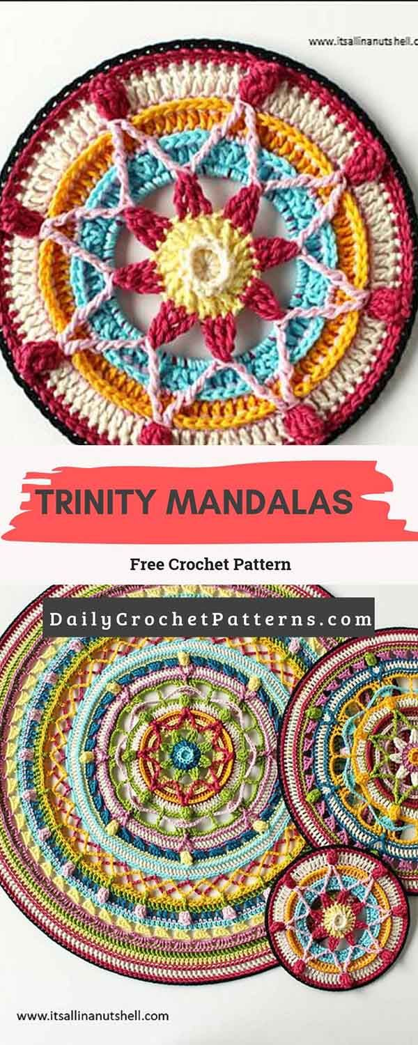 Trinity Mandalas Free Crochet Pattern is part of Free mandala crochet patterns, Crochet mandala, Crochet, Crochet patterns, Free crochet, Crochet patterns for beginners - This design is a set of three mandala's called Trinity Mandalas  You can make one size several times, or make all three sizes  Link of the pattern is below! Trinity Mandalas by Esther Dijkstra Trinity Mandalas Free Crochet Pattern downloadable pattern is available here  Download Premium WordPress Themes FreeDownload Premium WordPress Themes FreePremium WordPress Themes   Read More »
