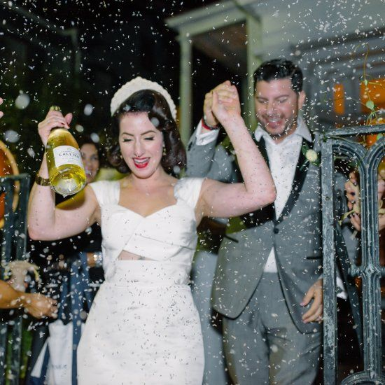 A Charleston wedding full of 1940s vintage glamour. We just love that the couple got showered in lavender for their exit shot!