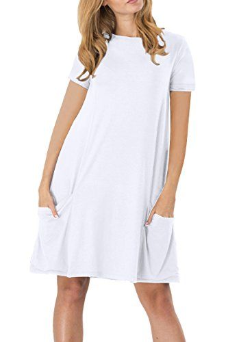 YMING Womens Short Sleeve Pockets Loose Swing Plain T-shirt Dress ... 4326d1a0c7