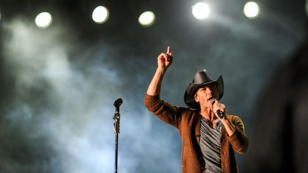 INDIO, CA - APRIL 24:  Musician Tim McGraw performs onstage during day one of 2015 Stagecoach, California's Country Music Festival, at The Empire Polo Club on April 24, 2015 in Indio, California.  (Photo by Christopher Polk/Getty Images for Stagecoach)