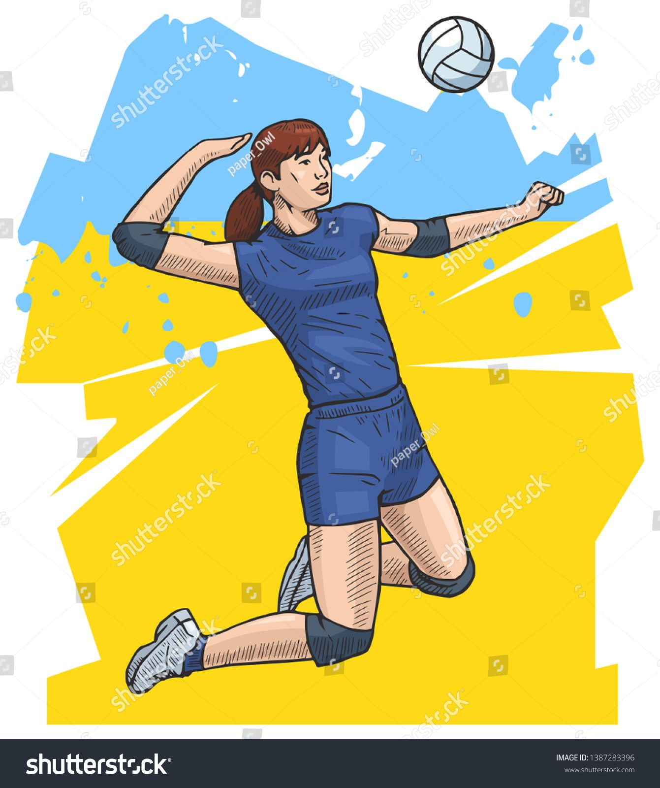 Vector Illustration Of A Female Volleyball Player Jumping Bright And Colorful Sport Themed Poste Female Volleyball Players Volleyball Team Business Card Black