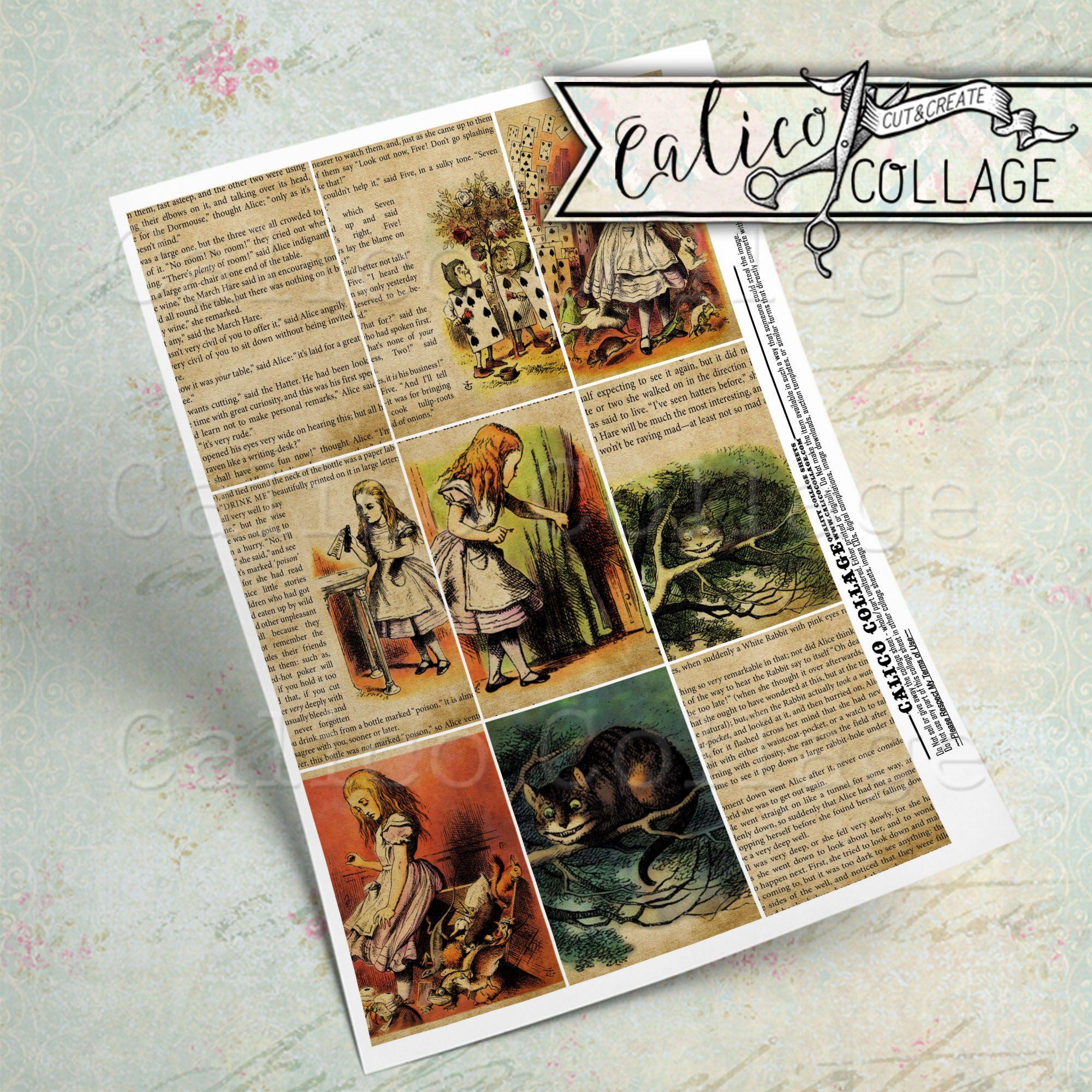 Printable Alice In Wonderland Vintage Book Pages Junk Journal Etsy In 2020 Printable Journal Cards Printable Collage Sheet Junk Journal