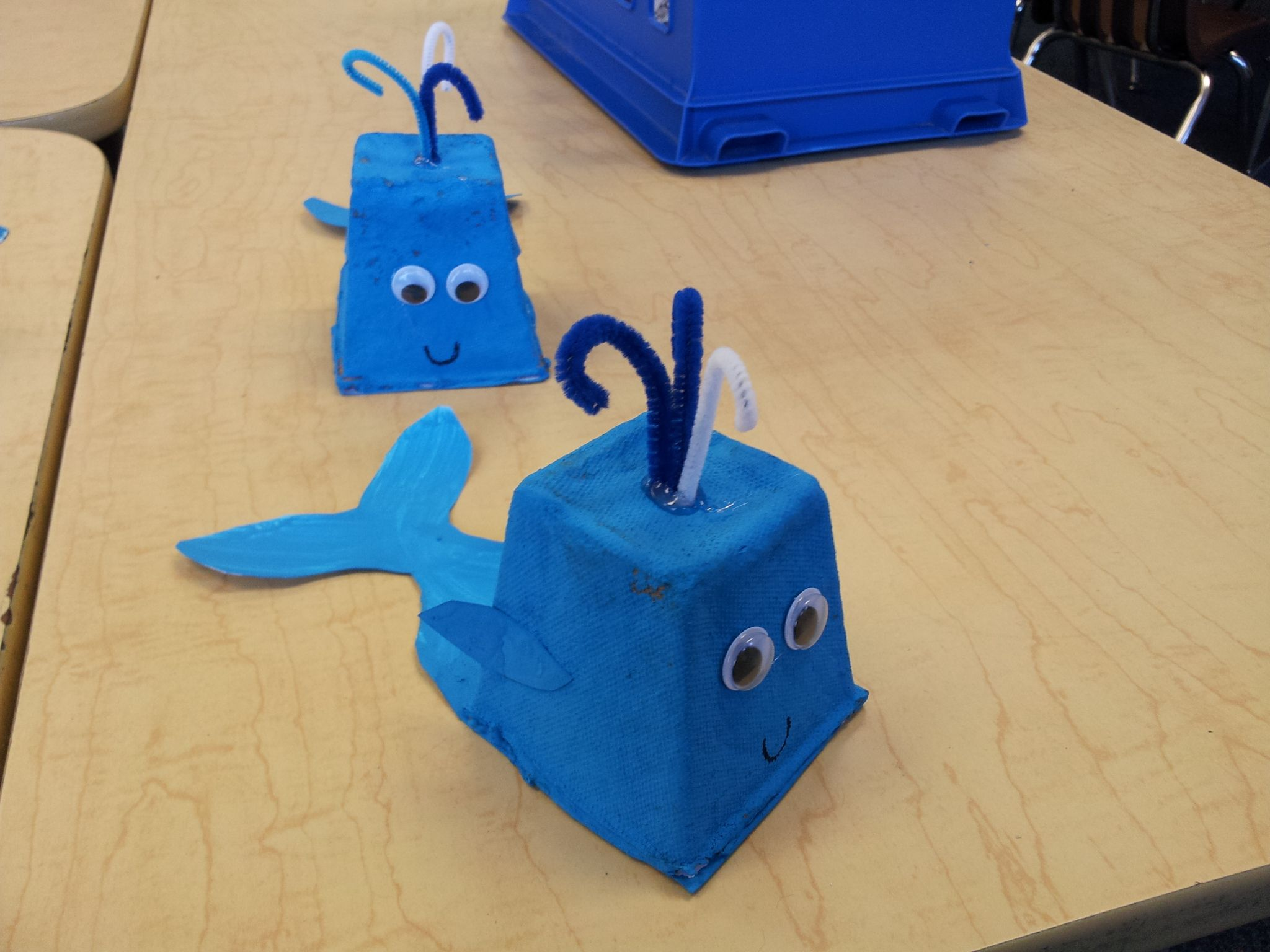 Ocean blue whale craft made from biodegradable seedling planters
