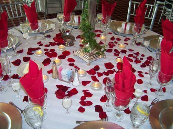 Wedding Table Decoration With Rose Petals