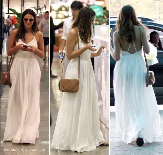 O vestido branco que Bruna Marquezine usou no Shopping Barra da Tijuca no  RJ ed1ccf17d4b