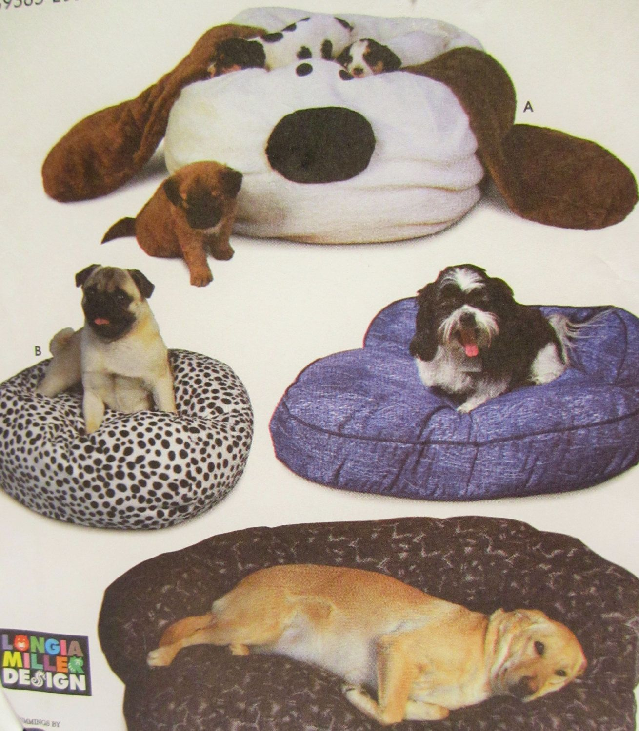 Dog Bed Pattern, Simplicity Crafts 7014, Puppy Dog Floor Pillow ...