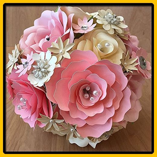 Pink & Ivory Paper Flower Wedding Bouquet - Blush weddings (*Amazon Partner-Link)