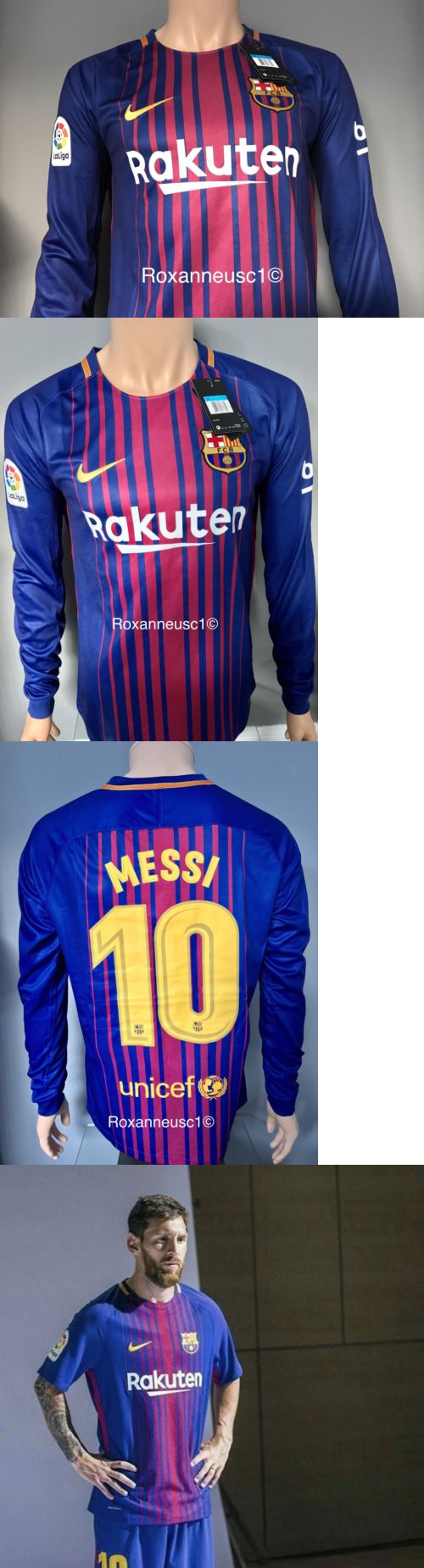 premium selection f6352 9f705 barcelona 10 messi home long sleeves soccer club jersey