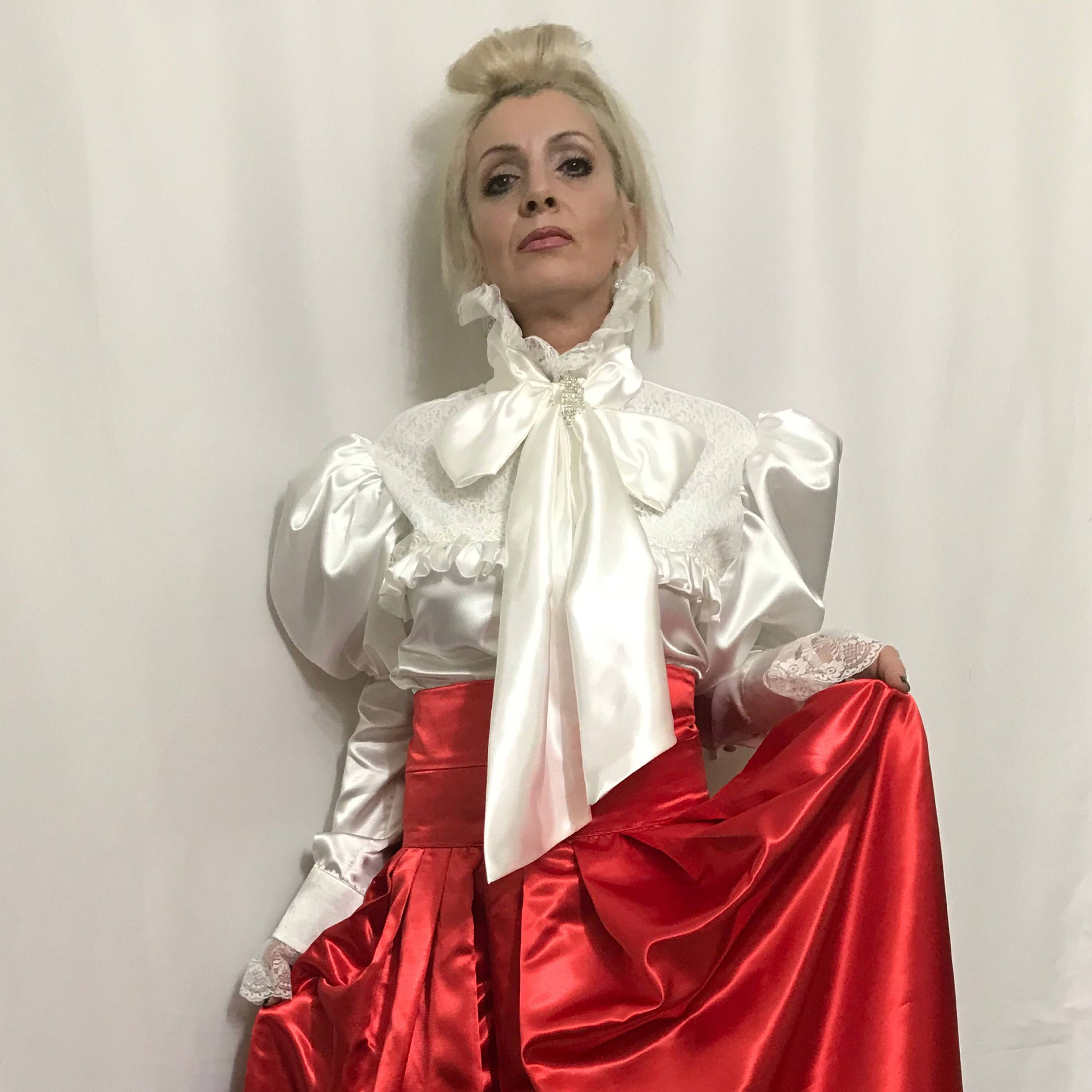 253aa91b3085bd Excited to share this item from my #etsy shop: Steampunk Victorian Blouse  in White Satin With Leg O'Mutton Sleeves #women #lolita #puffsleevestop