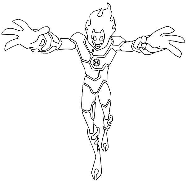 Heatblast Is Ready To Attack Coloring Page Download Print Online Coloring Pages For Free Color Nimbus Desenho Do Ben Colorir Online Desenhos