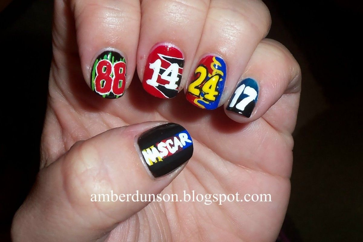 15 Cute Nascar Nail Art | Cute Nails Idea - 15 Cute Nascar Nail Art Cute Nails Idea NASCAR Pinterest
