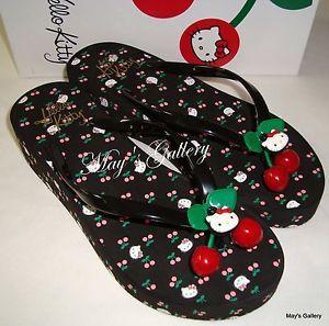 17b7da43a Adult Hello Kitty Flip Flops | Hello-Kitty-Thongs-Flip-Flop-Slppers-Sandals -Shoes-High-Heel-Flops-NIB .