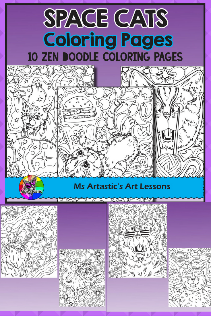 Get Out Of This World With Super Cool Mind Bending Laser Beaming SPACE CAT Coloring Pages Surprise Your Students 10 Zen Tangle To