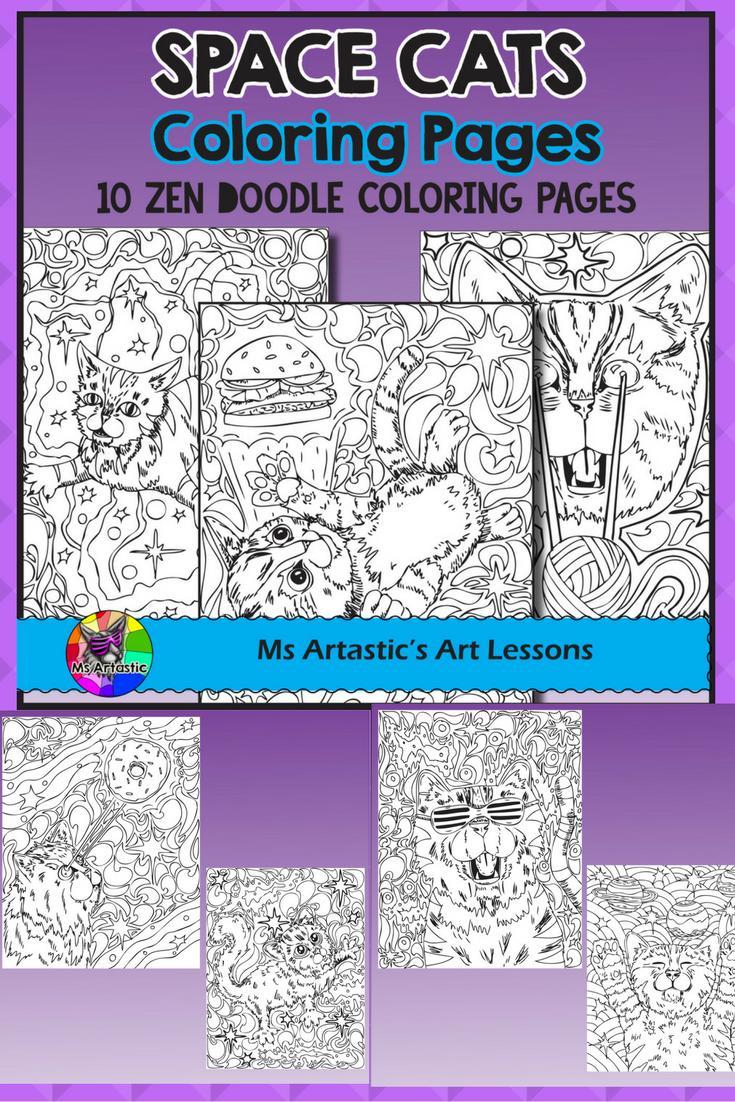 Zen cat coloring page - Space Cats Coloring Pages Zen Doodles
