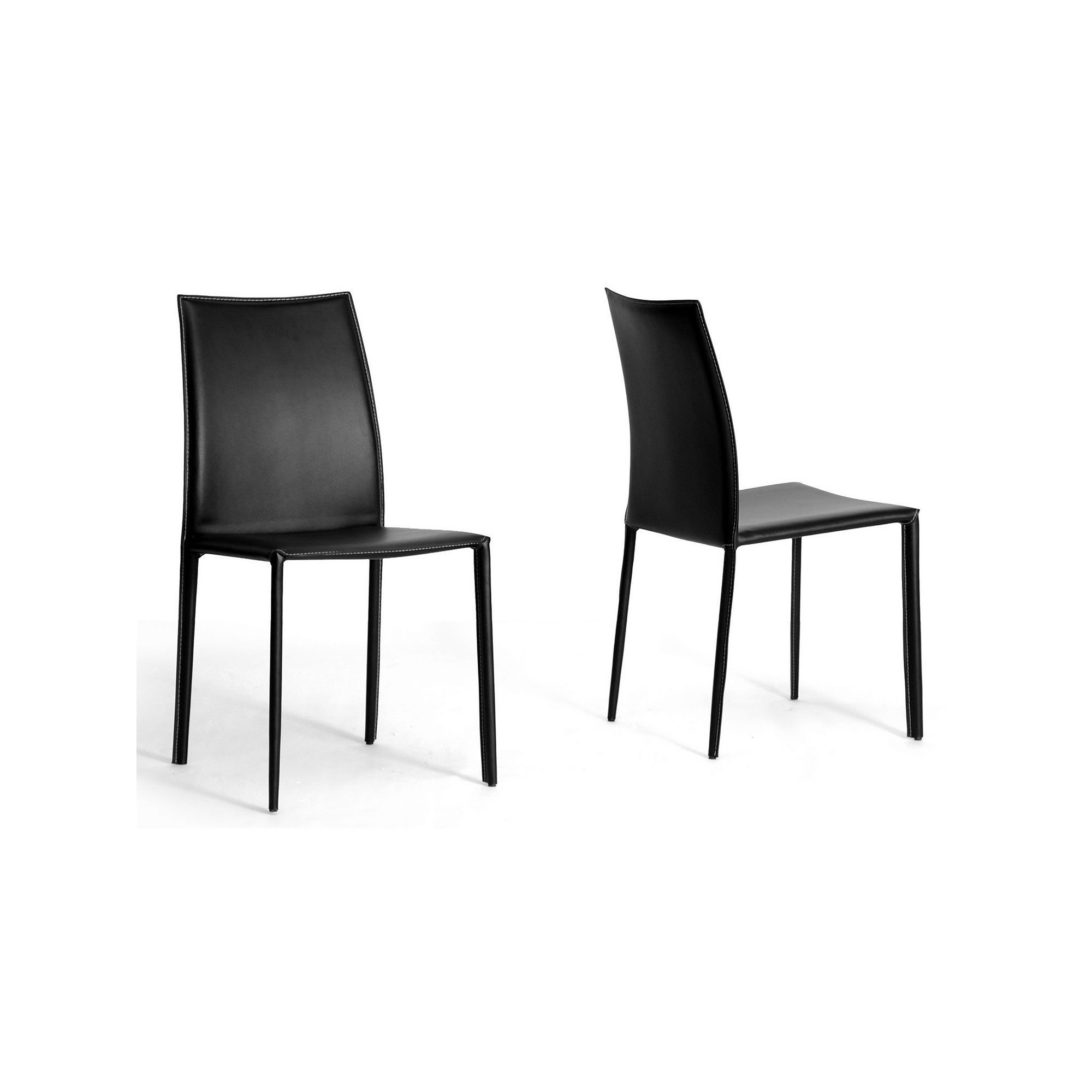 Baxton studio 2piece rockford leather dining chair set