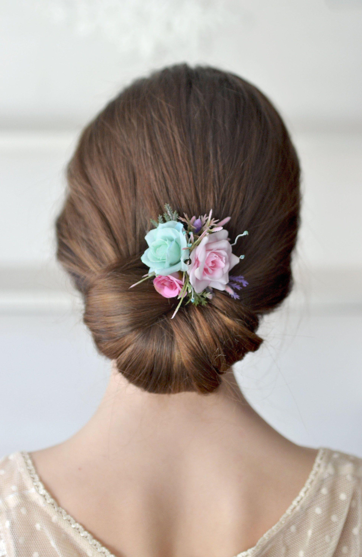 bridal flower hair clip pink mint hair clip floral head
