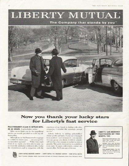 "Liberty Mutual Car Insurance Quote 1958 Liberty Mutual Insurance Ad ""thank Your Lucky Stars""  Mutual ."