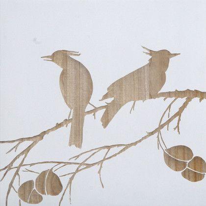 Mango Wood Artwork - Duo of Bulbul Birds Carved Artwork ...