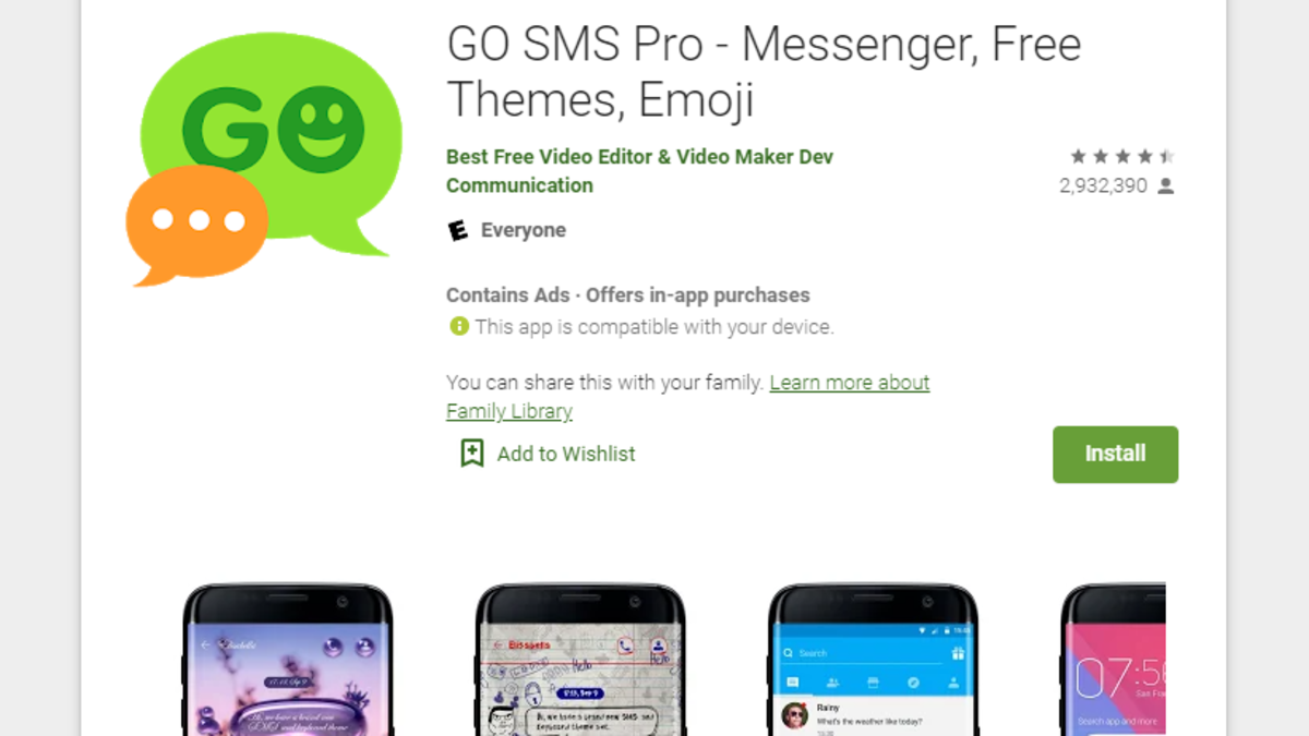 Delete Go Sms Pro From Your Android Now Sms Messaging App Cyber Security