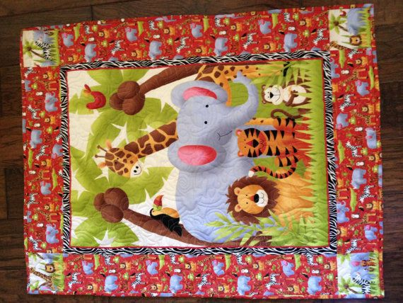 Jungle Theme Baby Quilt. $20.00, via Etsy. | Baby shower ... : jungle theme baby quilt patterns - Adamdwight.com