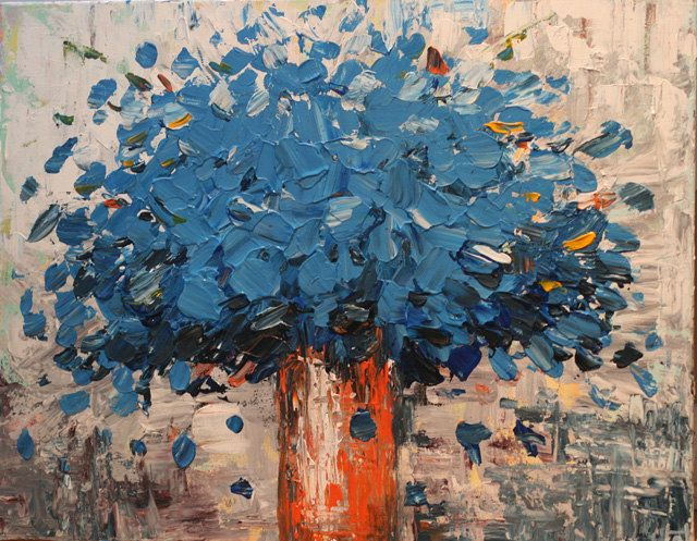 Large blue flower  Painting Heavy Texured Modern  contemporary palette knife art painting by oak. via etsy
