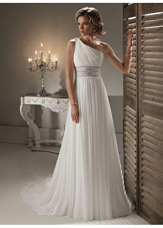 Chiffon Sheath One Shoulder Neckline Wedding Dress. Greek Goddess Style. 3b2bec3cca9b