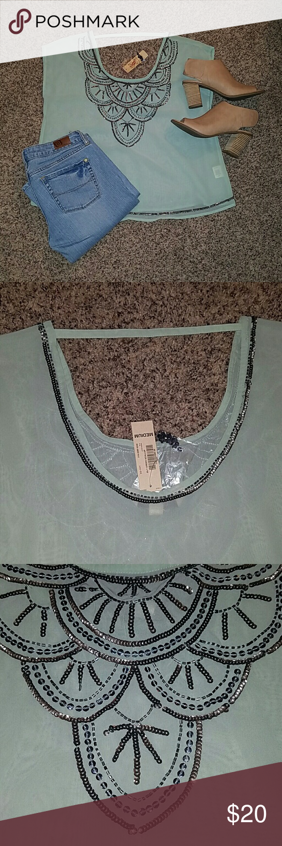 Brand new mint green top! Beautiful beaded mint green top.  New with tags. All items shown are for sale :) Tops Blouses