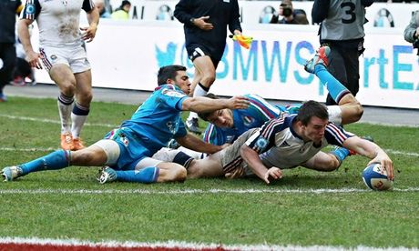 Louis Picamoles crosses the line for France's opening try against Italy in the Six Nations match at Stade de France. Photograph: Paul Childs...