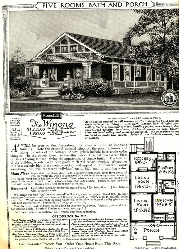 The sears winona as featured in the 1921 sears modern for House plan catalogs free
