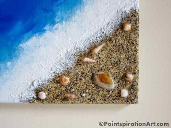 Decor Plage Ocean Peinture Avec Vrai Sable Et Coquillages Art Beach Wall Art Beach Painting Ocean Decor