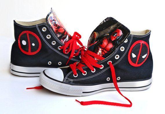 e15afc5111f2 Deadpool Converse shoes