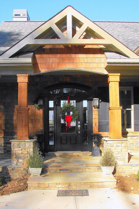 Entrance With Portico Columns : Entry portico with cedar columns on stacked stone